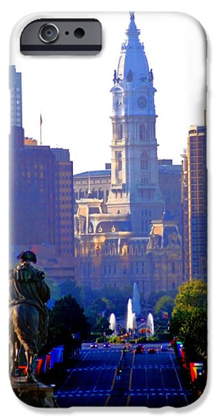 Franklin Digital Art iPhone Cases - Washington Looking Over to City Hall iPhone Case by Bill Cannon