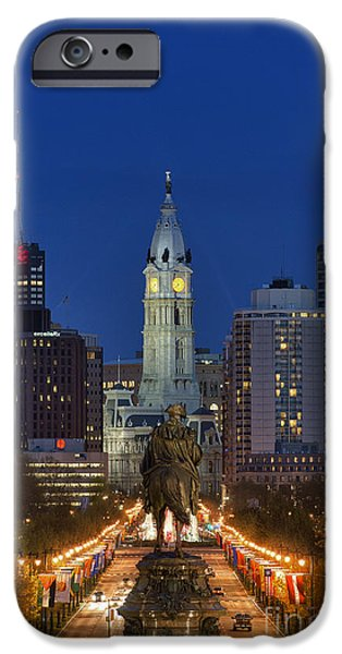 Washington Monument and City Hall iPhone Case by John Greim