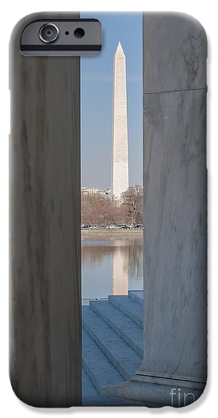 D.c. iPhone Cases - Washington Monument from Jefferson Memorial I iPhone Case by Clarence Holmes