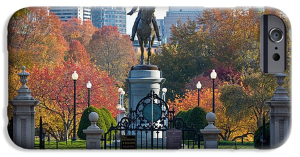 Boston iPhone Cases - Washington statue in Autumn iPhone Case by Susan Cole Kelly