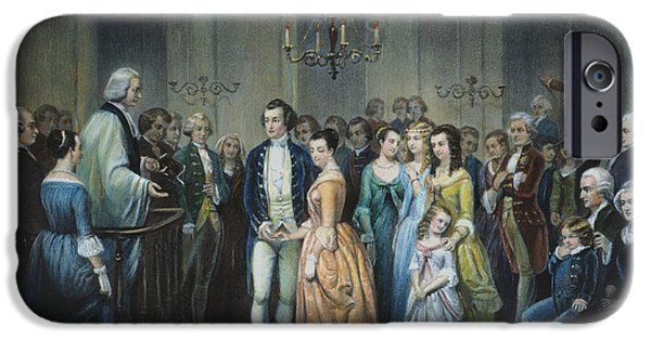 Colonial Man iPhone Cases - Washingtons Marriage iPhone Case by Granger