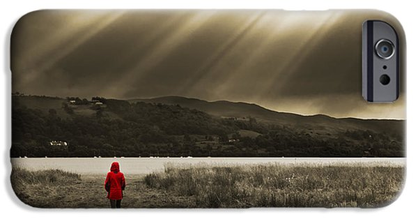 Selective Color iPhone Cases - Watching In Red iPhone Case by Meirion Matthias