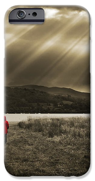watching in red iPhone Case by Meirion Matthias
