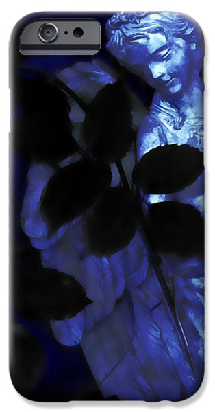 Night Angel Mixed Media iPhone Cases - Watching Over Me In Darkness iPhone Case by Angelina Vick