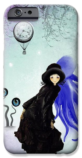 Pop Surrealism Digital iPhone Cases - Watching You iPhone Case by Charlene Zatloukal