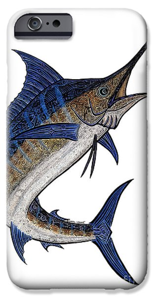 Sports Fish iPhone Cases - Water Color Tribal Marlin III iPhone Case by Carol Lynne