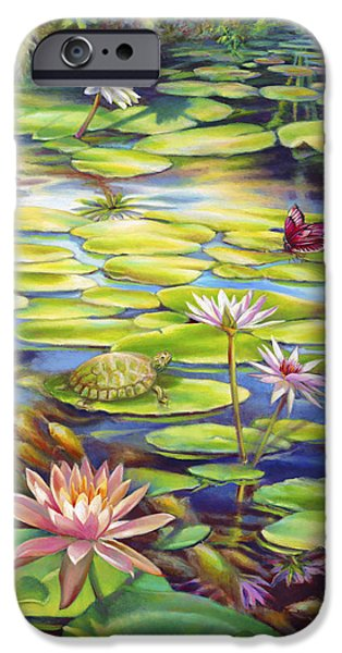 Butterfly Koi iPhone Cases - Water Lilies at McKee Gardens I - Turtle Butterfly and Koi Fish iPhone Case by Nancy Tilles