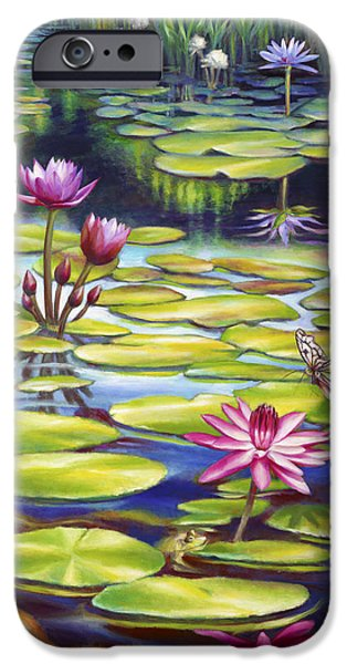 Butterfly Koi iPhone Cases - Water Lilies at McKee Gardens II - Butterfly and Frog iPhone Case by Nancy Tilles