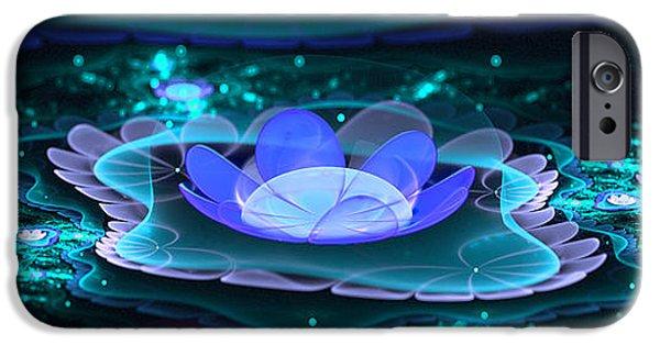 Floral Digital Art Digital Art iPhone Cases - Water Lilies in Wonderland 2 iPhone Case by Ester  Rogers