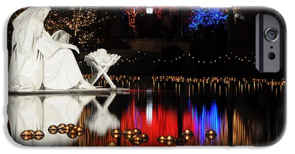 Night Lamp iPhone Cases - Water Christmas Nativity Scene at Night iPhone Case by Gary Whitton