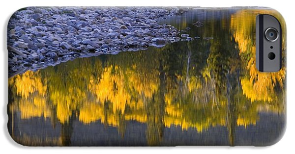 Trees Reflecting In Water iPhone Cases - Water Reflections With A Rocky Shoreline iPhone Case by Carson Ganci