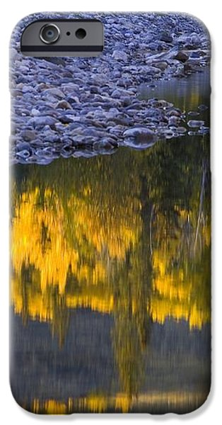 Water Reflections With A Rocky Shoreline iPhone Case by Carson Ganci