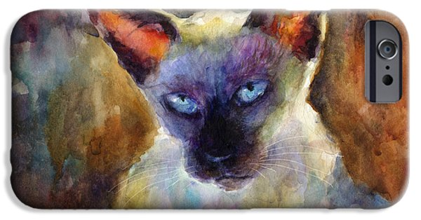 Watercolor Drawings iPhone Cases - Watercolor siamese cat painting iPhone Case by Svetlana Novikova