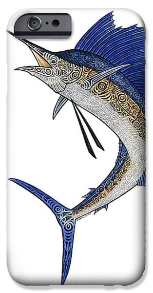 Sports Fish iPhone Cases - Watercolor Tribal Sailfish iPhone Case by Carol Lynne