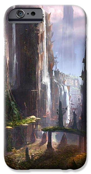 Waterfall Celtic Ruins iPhone Case by Alex Ruiz