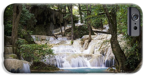 Thailand iPhone Cases - Waterfall In Deep Forest iPhone Case by Setsiri Silapasuwanchai