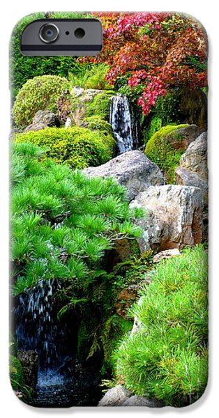 Waterfalls in Japanese Garden iPhone Case by Carol Groenen