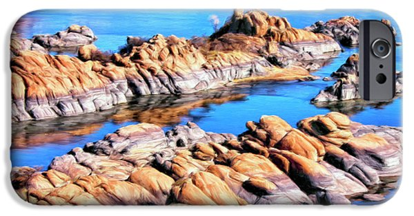 Prescott Paintings iPhone Cases - Watson Lake at Prescott AZ iPhone Case by Dominic Piperata