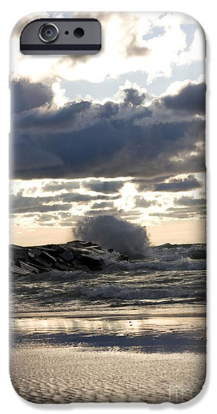 Wave crashing into jetty on Lake Michigan iPhone Case by Christopher Purcell