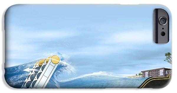 Energy Conversion iPhone Cases - Wave Energy Converter, Artwork iPhone Case by Claus Lunau