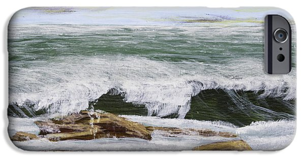 Spray Paintings iPhone Cases - Waves And Rocks Maine Seascape Painting iPhone Case by Keith Webber Jr