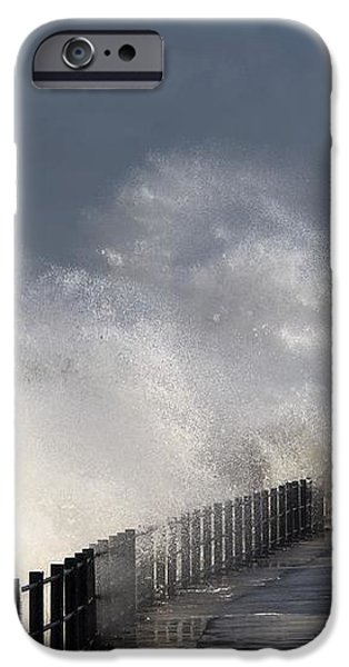 Waves Crashing By Lighthouse At iPhone Case by John Short