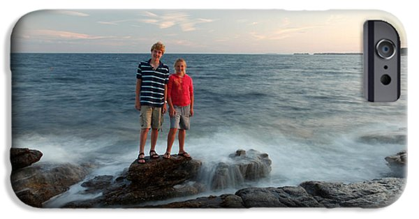 Incoming Tide iPhone Cases - Waves Splash Children iPhone Case by Ted Kinsman