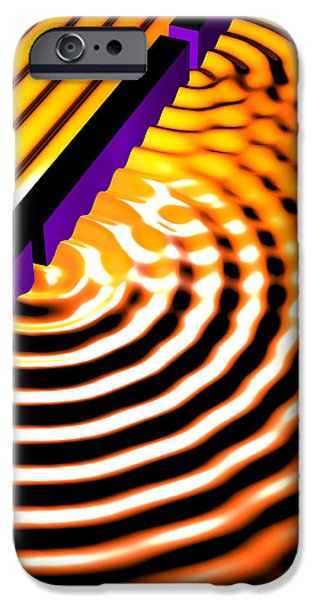 Waves Two Slit 2 iPhone Case by Russell Kightley