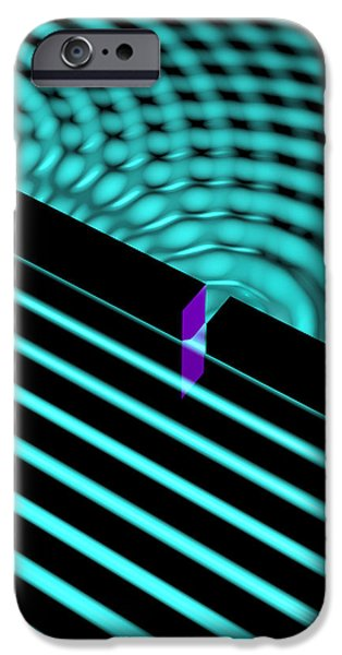 Waves Two Slit 4 iPhone Case by Russell Kightley
