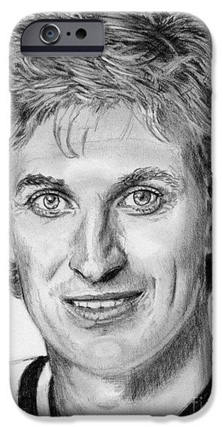 Celebrities Art iPhone Cases - Wayne Gretzky in 1992 iPhone Case by J McCombie