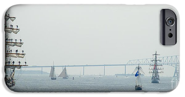 Tall Ship iPhone Cases - We Say Goodbye as they Sail out to the Bay iPhone Case by Mark Dodd