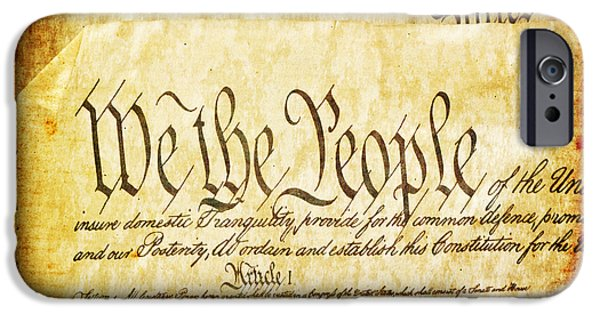 Usa Flag Mixed Media iPhone Cases - We The People iPhone Case by Angelina Vick