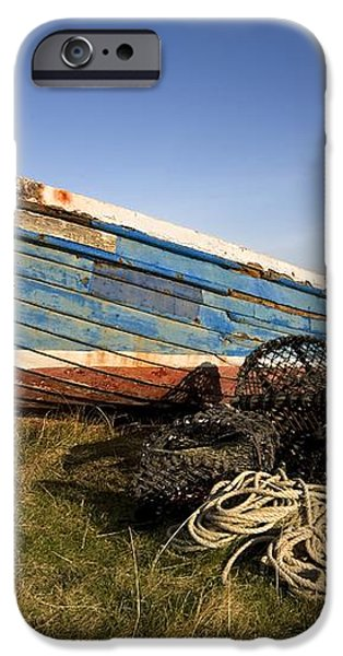 Weathered Fishing Boat On Shore, Holy iPhone Case by John Short