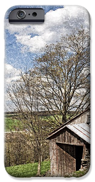 Weathered Hillside Barn Spring iPhone Case by John Stephens