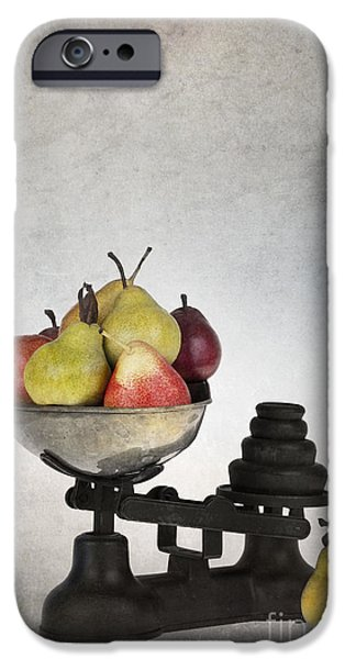 Pears iPhone Cases - Weighing pears iPhone Case by Jane Rix