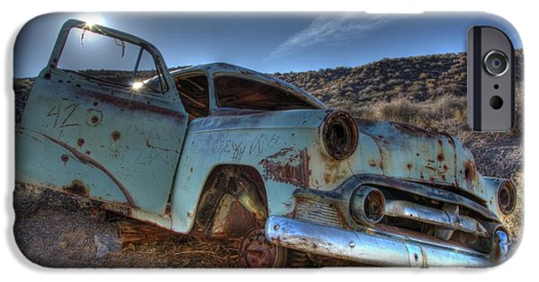Rusted Cars iPhone Cases - Welcome To Death Valley iPhone Case by Bob Christopher