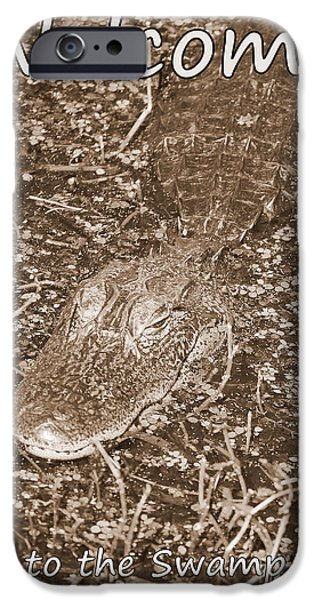 Alligator iPhone Cases - Welcome to the Swamp - Sepia iPhone Case by Carol Groenen