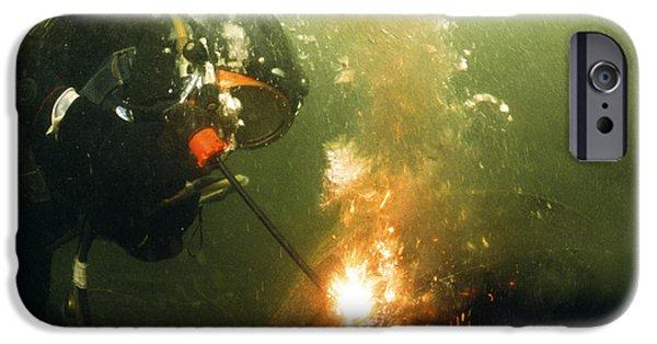 Diver iPhone Cases - Welding Underwater iPhone Case by Peter Scoones