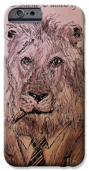 Sepia Ink Drawings iPhone Cases - Well I smoke Camels of course. iPhone Case by John Malone