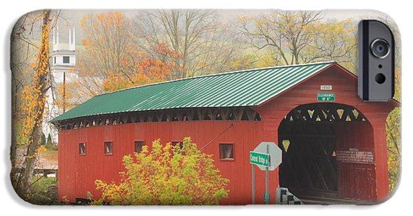 Covered Bridge iPhone Cases - West Arlington Covered Bridge Vermont Autumn Mist iPhone Case by John Burk