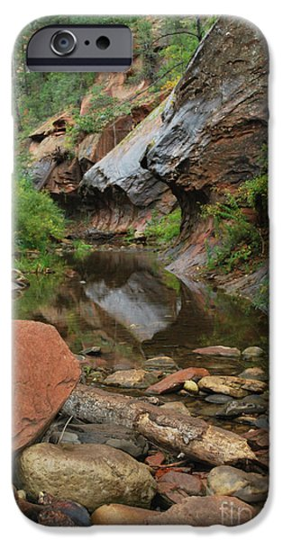 West Fork iPhone Cases - West Fork Trail River and Rock Vertical iPhone Case by Heather Kirk