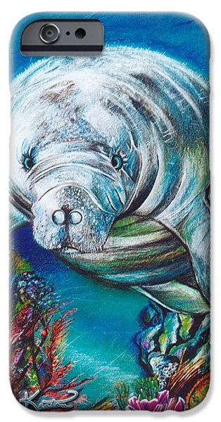 Manatee iPhone Cases - West Indian Manatee iPhone Case by John Keaton