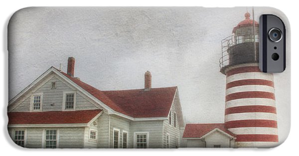 West Quoddy Head Lighthouse iPhone Cases - West Quoddy Head Lighthouse iPhone Case by Lori Deiter