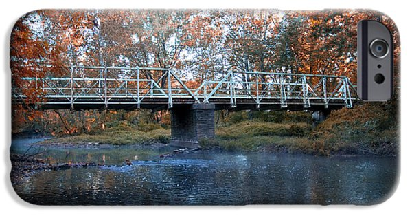 Philadelphia Cricket Club iPhone Cases - West Valley Green Road Bridge along the Wissahickon Creek iPhone Case by Bill Cannon