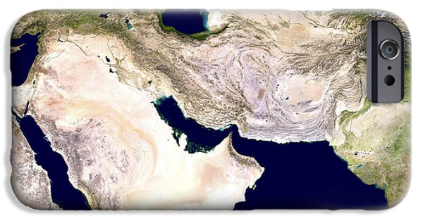 Iraq iPhone Cases - Western Asia, Satellite Image iPhone Case by Nasa