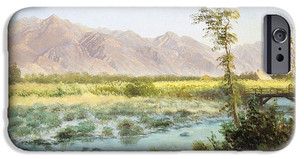 Mountains iPhone Cases - Western Landscape iPhone Case by Albert Bierstadt