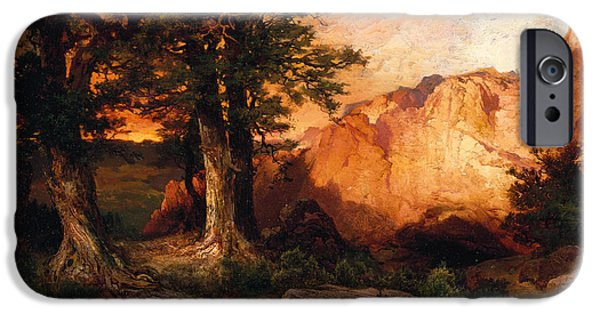 Hudson River iPhone Cases - Western Sunset iPhone Case by Thomas Moran