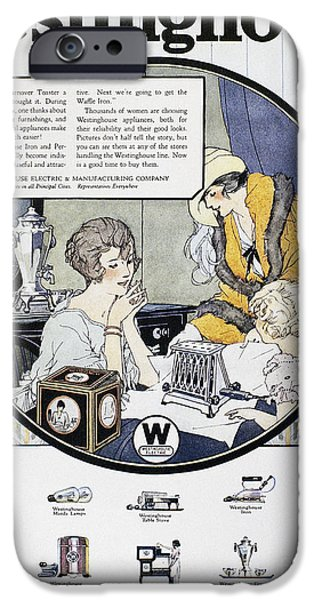 Toaster iPhone Cases - Westinghouse Ad, 1924 iPhone Case by Granger