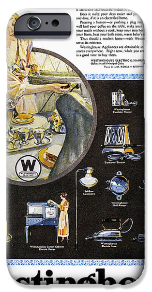 Toaster iPhone Cases - Westinghouse Ad, 1925 iPhone Case by Granger