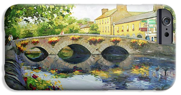 Town Paintings iPhone Cases - Westport Bridge County Mayo iPhone Case by Conor McGuire